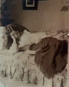 """An ordinary man can surround himself with two thousand books and thenceforward have at least one place in the world in which it is possible to be happy."" (Augustine Birrell) Olive Bevis,  c. 1910."