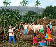 Sugar Cane Cutters by Edmundo Otoniel Mejia Indian Art Paintings, Modern Art Paintings, Beautiful Paintings, Village Scene Drawing, Art Village, Indian Village, Village Photography, Beach Photography, Love Canvas Painting