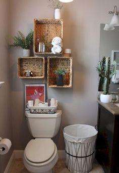 51 Simple But Modern Bathroom Storage Design Ideas Bathroom Wall Shelves, Small Bathroom Organization, Diy Organization, Bathroom Ideas, Bathroom Plants, Bathroom Remodeling, Organized Bathroom, Restroom Ideas, Bathroom Rack