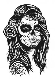Discover thousands of Premium vectors available in AI and EPS formats Skull Artwork, Skull Painting, Skull Drawings, Skull Girl Tattoo, Girl Tattoos, Sugar Skull Mädchen, Chicano Style Tattoo, Yakuza Tattoo, Tattoo Salon