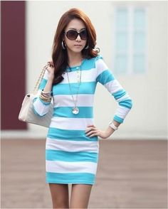 Wide Stripes Long Sleeve Dress
