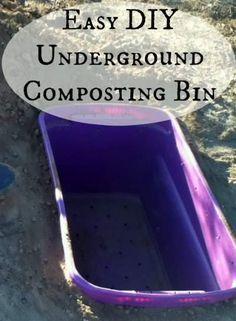 This DIY underground composting bin is easy to make! Directions at www.PintSizeFarm.com