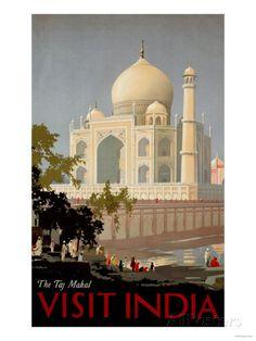 Visit India, the Taj Mahal, circa 1930 Posters at AllPosters.com