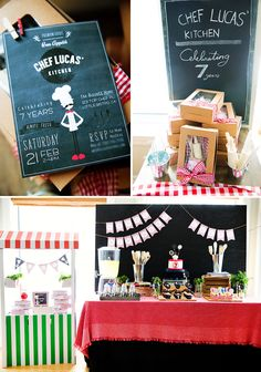 Modern Bistro-Inspired Top Chef Birthday Party // Hostess with the Mostess® Master Chef, Guys Birthday Parties, Birthday Ideas, Kids Cooking Party, Chef Party, Circus Birthday, 4th Birthday, Baking Party, Mickey Party