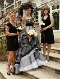 Gothic Wedding Dress in Black and White by WeddingDressFantasy, $865.00