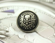 Skull Emblem Metal Buttons , Retro Silver Color , Shank , 0.59 inch , 10 pcs by Lyanwood, $6.00