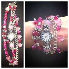 Handmade watch with pink agate by EmpoweredByReiki on Etsy, $30.00 Handmade Jewelry Bracelets, Diy Jewellery, Jewelry Crafts, Jewlery, Jewelry Making, Beaded Bracelets, Unique Jewelry, Beaded Watches, Jewelry Watches