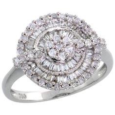 18k White Gold Flower Cluster Diamond Ring, w/ 0.30 Carat Baguette Diamonds & 0.25 Carat Brilliant Cut Diamonds