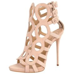 Giuseppe Zanotti Caged Bootie (755 CAD) ❤ liked on Polyvore featuring shoes, heels, sandals, boots, high heels, blush, open toe platform shoes, giuseppe zanotti shoes, heels stilettos and high heel shoes
