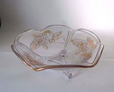 Glass Fruit design Candy dish 1950s grape by StreetCrossingDesign