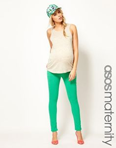 Love this look, minus the hat. ASOS Maternity Skinny Jean In Washed Green