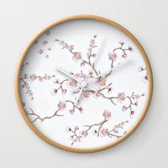SAKURA LOVE - GRUNGE WHITE Wall Clock
