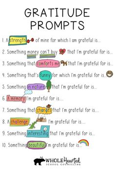 Art therapy activities social workers Practicing gratitude cultivates joy and positivity, key feelings that lay a foundation from which to create an empowered life. Focusing on what we appreciate is also a healthy coping skill The Words, Journal Writing Prompts, 3rd Grade Writing Prompts, Kindergarten Writing Prompts, Third Grade Writing, Writing Prompts For Kids, Homeschool Kindergarten, Homeschooling, Social Emotional Learning