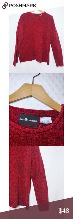 "Vintage • Women's Marled Sweater • XL • Sag Harbor This cozy women's sweater is so cute! Oversized red & black knit fall and winter sweater is comfy and cozy & very fashion forward  Bust / Armpit to Armpit: 23"" bottom hem: 26"" Sag Harbor Sweaters Crew & Scoop Necks"