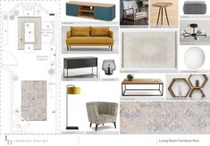 A furniture plan for our North London project. The design has just been finalised and it was such a fun project to work on. . . My client wanted a mid-century modern, slightly scandi style with bold colour. We used the @farrowandball Stiffkey Blue No 281 for the main feature wall behind the sofa and along to the kitchen. The yellow sofa will look so striking against the navy wall! I can't wait to see it in reality! The other walls are Farrow & Balls' Cornforth White No 228 (one of my favourite n Cornforth White, Stiffkey Blue, Yellow Sofa, Navy Walls, Scandi Style, North London, Boutique Design, Beautiful Interiors, Furniture Plans