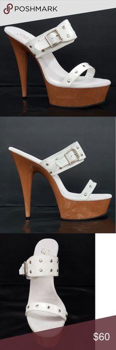 98d1d9048 Pleaser Shoes | 6 High Heel Slip On Double Strap Sandal Slide 11 | Color:  Tan/White | Size: 11