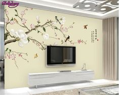 beibehang Fashion big wallpaper hand painted magnolia flowers and birds retro simple TV backdrop wall papel de parede wall paper Living Room Partition Design, Living Room Tv Unit Designs, Room Partition Designs, Wall Stickers Vines, Wall Decor Stickers, 3d Wallpaper For Room, Custom Wallpaper, Wallpaper Murals, Photo Wallpaper
