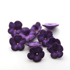 polymer clay flowers beads | by tooaquarius #purple