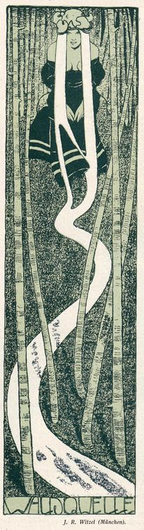 Earth, Water ~ Jugend magazine, Waldquelle (Forest Wellspring) by JR Witzel, 1898.
