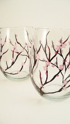 Cherry blossom  hand painted stemless wine glasses  by RaeSmith, $35.00