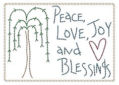 Peace, Love and Joy Willow Sampler - 5x7 | Primitive | Machine Embroidery Designs | SWAKembroidery.com HeartStrings Embroidery