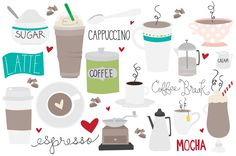 Coffee Break Vector & PNG Clipart by Holly McCaig Creative on Creative Market