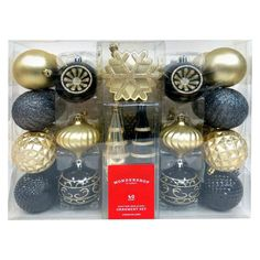 Fashion Gold Black Shatterproof Christmas Ornament Set 40ct - Wondershop,