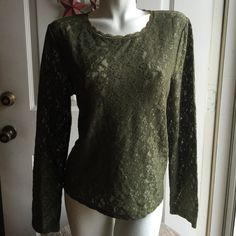 VS Green Lace Top Worn once....Beautiful sheer green lace boxy-fit top....very elegant for the perfect occasion.  Lost weight and no longer fits me....No Trades, Modeling, PayPal or MercariSame Day/Next Day Shipping  Victoria's Secret Tops Blouses