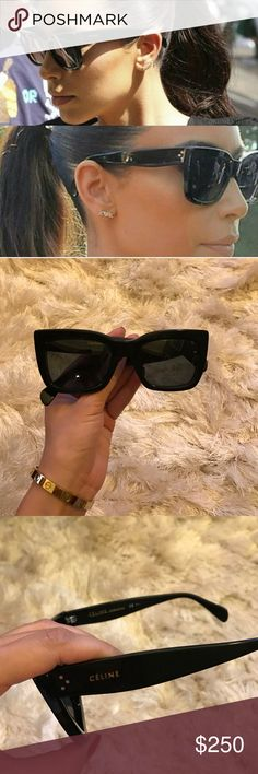 Celine black sunglasses as seen on Kim K Black Celine sunglasses as seen on Kim Kardashian. Only worn a few times and in perfect condition. Comes with original Celine sunglass case. Purchased at Saks and guaranteed authentic. Specs For Round Face, Round Face Sunglasses, Summer Sunglasses, Prada Sunglasses, Cheap Sunglasses, Black Sunglasses, Sunglasses Accessories, Fashion Eye Glasses, Kardashian Style