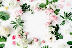 #Floral frame with roses  Frame with pink and white roses branches leaves and petals isolated on white background. Flat lay composition for bloggers magazines websites social media business owners and artists. This purchase includes one high resolution horizontal digital image. Image is a sRBG jpg and is approximately 5498x3665 pixels. Some more floral frame compositions here: http://ift.tt/29WABSO License terms: http://ift.tt/1W9AIer