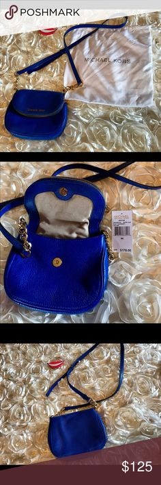 NWT Michael Kors Cross body NWT Michael Kors small Bedford Cross body in Electric blue.  authentic. This color is so pretty and vibrant with the bright gold chain detail. Zip flap top with magnetic closure. Inside zip pocket also. Signature logo lining. Zip front flap opens up to the length of bag for convenient storage. Dust bag included. Prefect bag for traveling! Michael Kors Bags Crossbody Bags