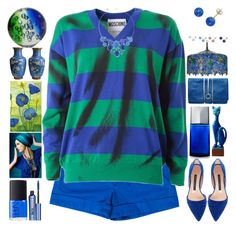 """""""Blue Green"""" by grozdana-v ❤ liked on Polyvore featuring Alice + Olivia, Moschino, Murano, Meyda, Liz Claiborne, Issey Miyake, Emeline Coates, NARS Cosmetics, Benefit and French Connection"""