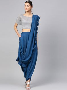 Buy Ishin Grey Beige Printed Dhoti Saree - Sarees for Women 8707007 Dhoti Saree, Sharara, Lehenga, Stylish Dress Designs, Fancy Blouse Designs, Dress Neck Designs, Stylish Sarees, Stylish Dresses, Fashion Dresses