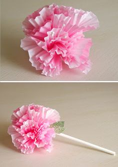 4 cupcake liners pinched together and glued to a lollipop stick