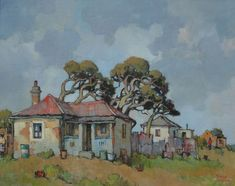 Conrad Theys (b House with windswept trees - 2002 Oil on canvas Landscape Art, Landscape Paintings, Landscapes, Building Painting, Watercolor Paintings, Watercolour, Barn Art, South African Artists, Art Techniques