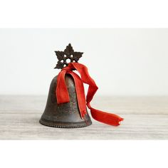 Vintage silver plate Christmas bell rustic holiday decor holiday cabin... ($22) ❤ liked on Polyvore featuring home, home decor, holiday decorations, holiday decor, holiday home decor, red home accessories and red home decor