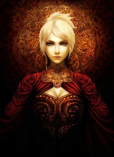 Gilded Roses by kureo95 #red #women #whitehair #gold | female queen, beautiful art | fantasy art, characters, woman, king | ruler, red gold, with white hair