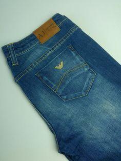 Men s AJ Armani 008 Indigo Blue Denim Jeans Straight Waist 34  Leg 33 W34 L33  4