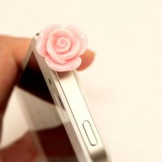 $3 cell phone accessories! Rose phone topper headphone dust plug by Opus 19 on Wanelo