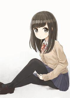 Anime School Girl, Cool Anime Girl, Pretty Anime Girl, Kawaii Anime Girl, Anime Art Girl, Cute Anime Chibi, Cute Anime Pics, Anime Neko, Manga Anime