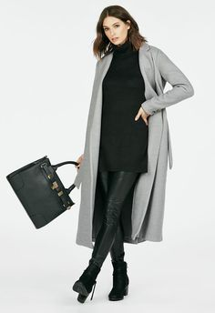 Long wrap coat in a mid-calf length with notched lapels, detachable fabric belt, 2 in-seam hip pockets, 3-buttoned cuffs and back kick-pleat....