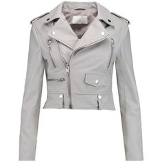 W118 by Walter Baker Hanna leather biker jacket (495 CAD) ❤ liked on Polyvore featuring outerwear, jackets, grey, leather moto jacket, grey jacket, gray leather jacket, biker jacket and leather motorcycle jacket