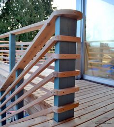 We carried this element into the design of the deck, using pitched posts in the railing. Our edge conditions were playful, matching the spirit of the home. Horizontal Deck Railing, Modern Stair Railing, Deck Railing Design, Patio Railing, Patio Deck Designs, Stair Handrail, Railing Ideas, Modern Deck, Modern Backyard