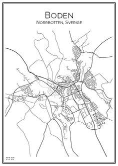 Boden. Sverige. Karta. City print. Print. Affisch. Tavla. Tryck.