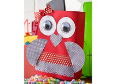 Whoo Will Be Mine? Owl Valentine Holder made from a cereal box and Mod Podge