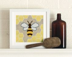 Hey, I found this really awesome Etsy listing at https://www.etsy.com/listing/219818062/honey-bee-cross-stitch-kit-on-linen-aida