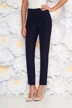 StarShinerS darkblue elegant office trousers high waisted slightly elastic fabric, side zip fastening, with pockets, high waisted, slightly elastic fabric
