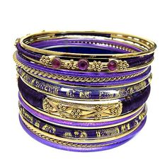 Purple Cotton String Wrapped With Plastic And Gold Metal Bangles Set Of Trendy Jewelry, Women Jewelry, Fashion Accessories, Fashion Jewelry, Cotton String, Bangle Set, Indian Fashion, Trendy Fashion, Pandora