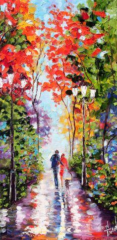 Original painting Autumn Park Landscape palette by Karensfineart