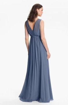 $280 JENNY YOO Vivienne Pleated Chiffon Gown BRIDESMAID WEDDING EVENING BLUE